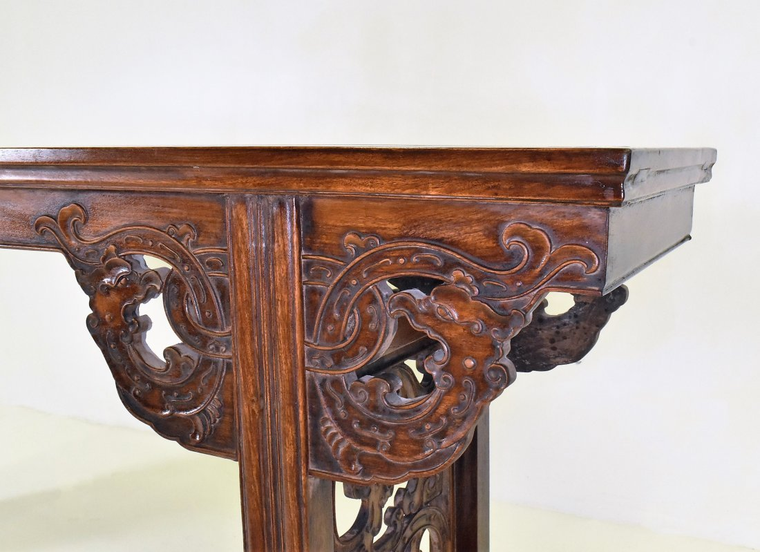 OPEN WORK FRAME LEGS HUANGHUALI LONG ALTAR TABLE - 5