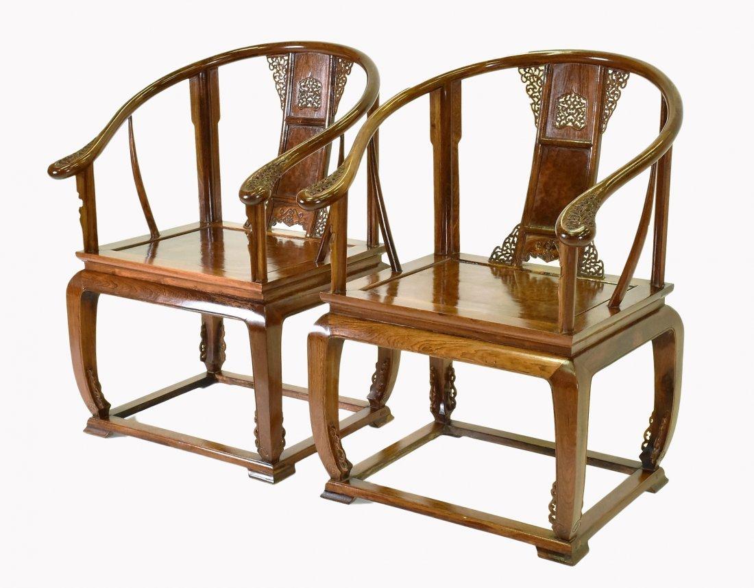PAIR OF  BURLWOOD SEAT HUANGHUALIROUND CHAIRS - 2