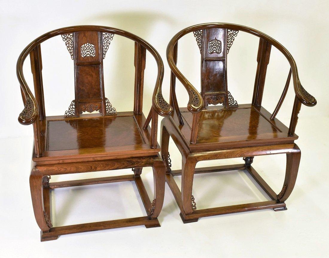 PAIR OF  BURLWOOD SEAT HUANGHUALIROUND CHAIRS - 3
