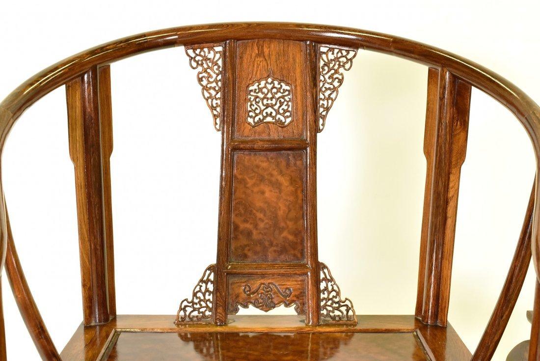PAIR OF  BURLWOOD SEAT HUANGHUALIROUND CHAIRS - 4