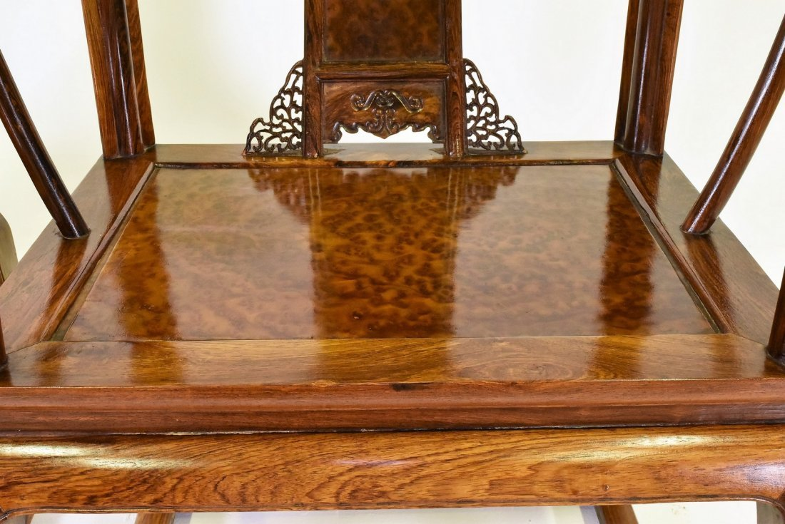 PAIR OF  BURLWOOD SEAT HUANGHUALIROUND CHAIRS - 5