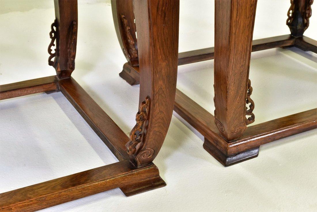 PAIR OF  BURLWOOD SEAT HUANGHUALIROUND CHAIRS - 7