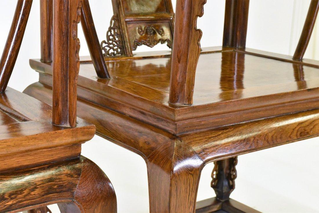 PAIR OF  BURLWOOD SEAT HUANGHUALIROUND CHAIRS - 8