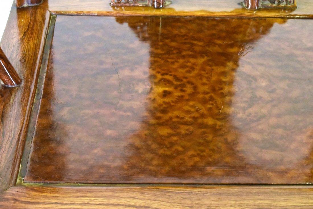 PAIR OF  BURLWOOD SEAT HUANGHUALIROUND CHAIRS - 9
