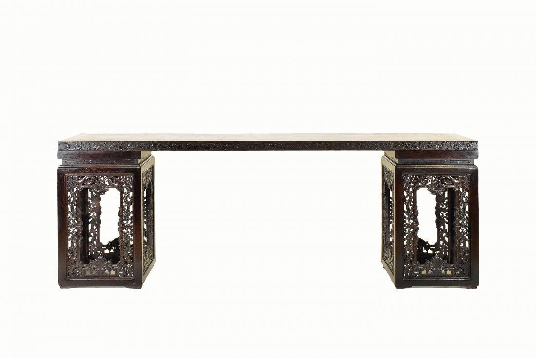 A RARE ZITAN DEMOUNTABLE CHINESE LONG SIDE TABLE - 2