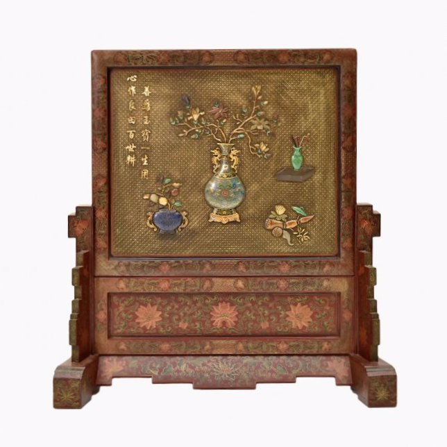 LARGE LAQUERED CLOISONNE  INLAID TABLE SCREEN