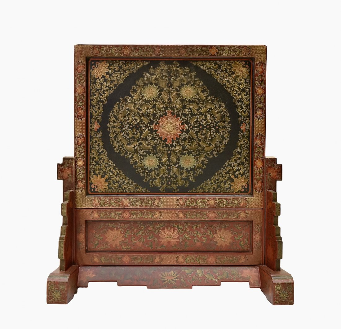 LARGE LAQUERED CLOISONNE  INLAID TABLE SCREEN - 3