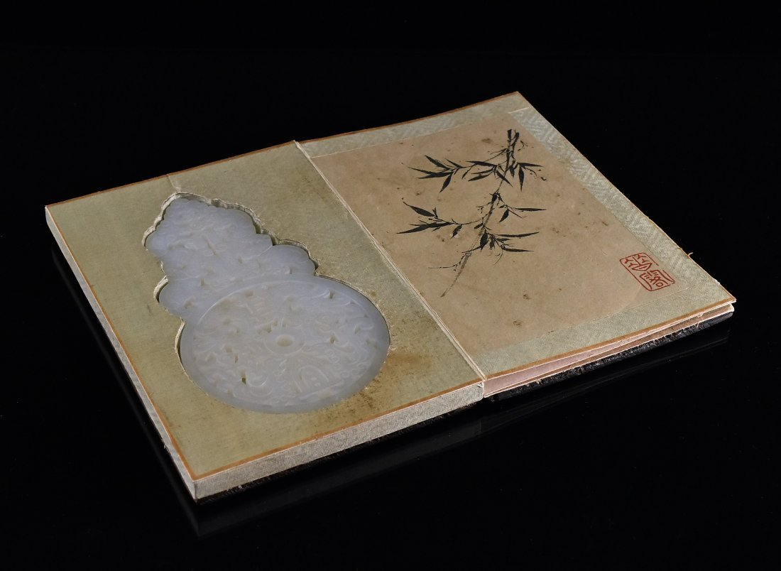 PIERCED WHITE JADE IN BOOK SHAPED WOODEN  BOX - 2