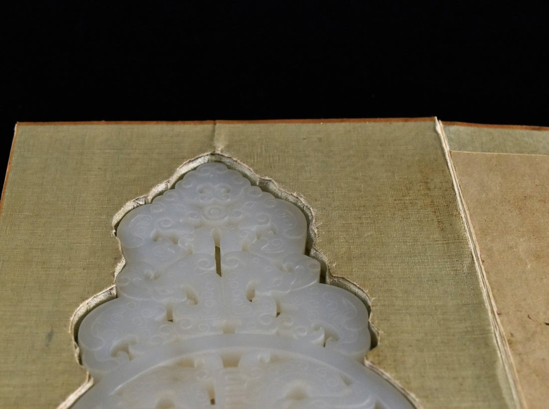PIERCED WHITE JADE IN BOOK SHAPED WOODEN  BOX - 8