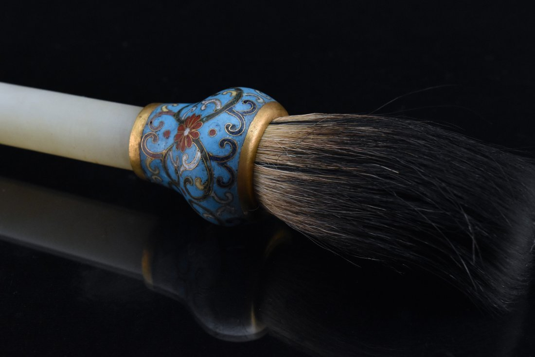 JADE AND CLOISONE ENAMEL SCHOLLAR BRUSH - 4