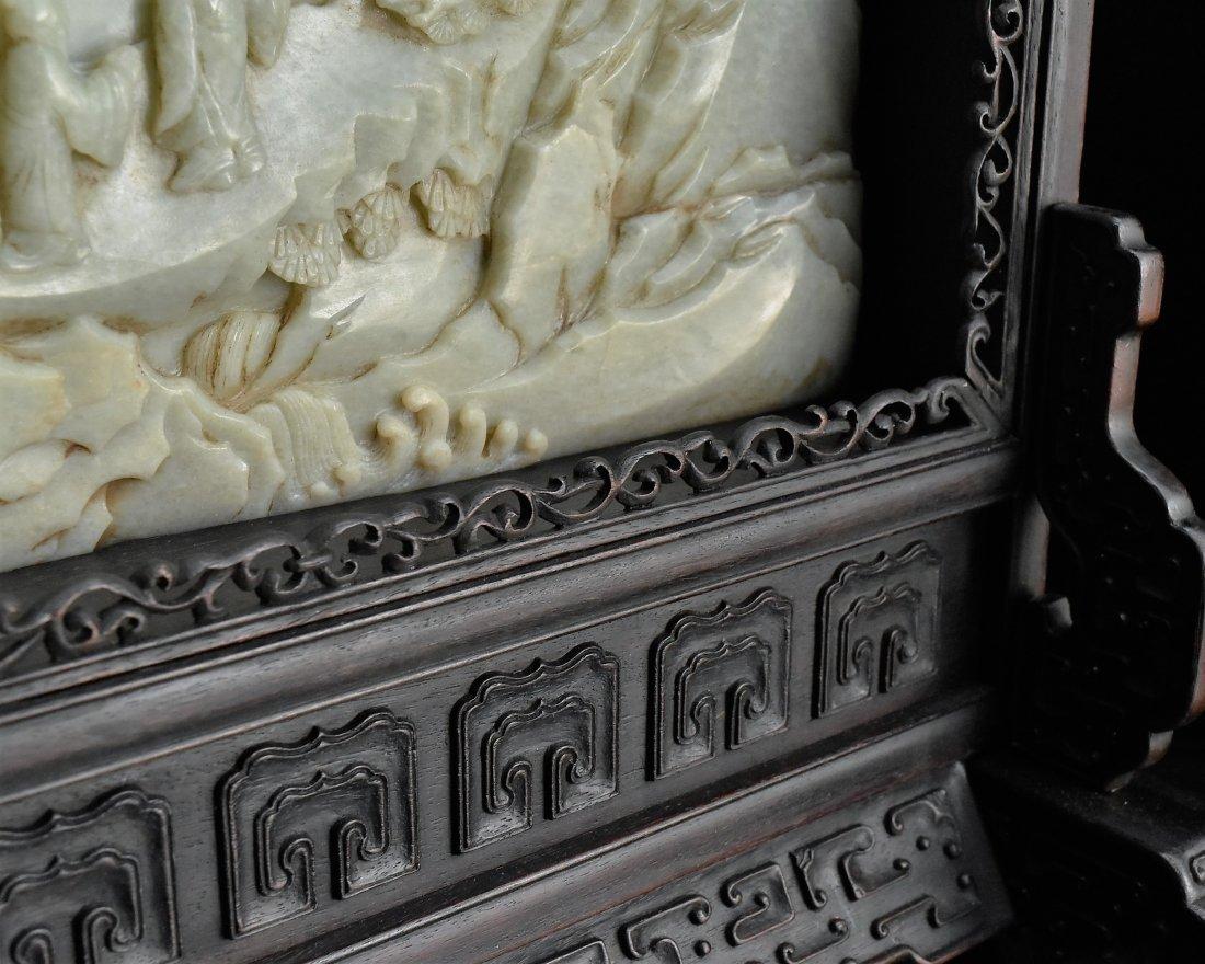 FRAMED GRAYISH CELADON JADE  TABLE SCREEN - 10