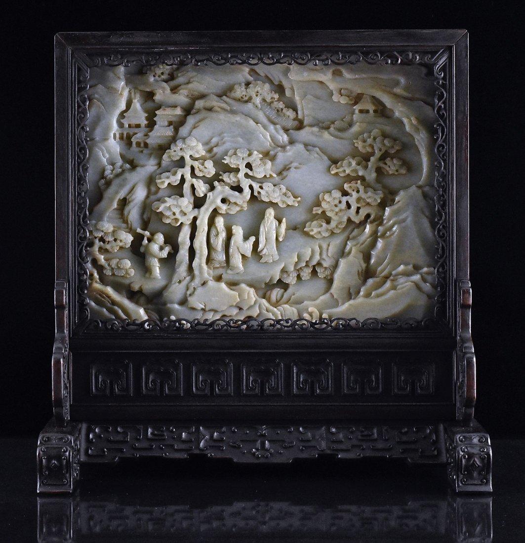 FRAMED GRAYISH CELADON JADE  TABLE SCREEN