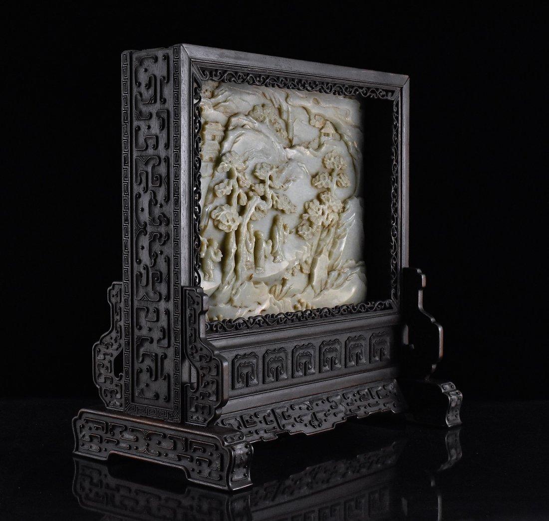 FRAMED GRAYISH CELADON JADE  TABLE SCREEN - 2