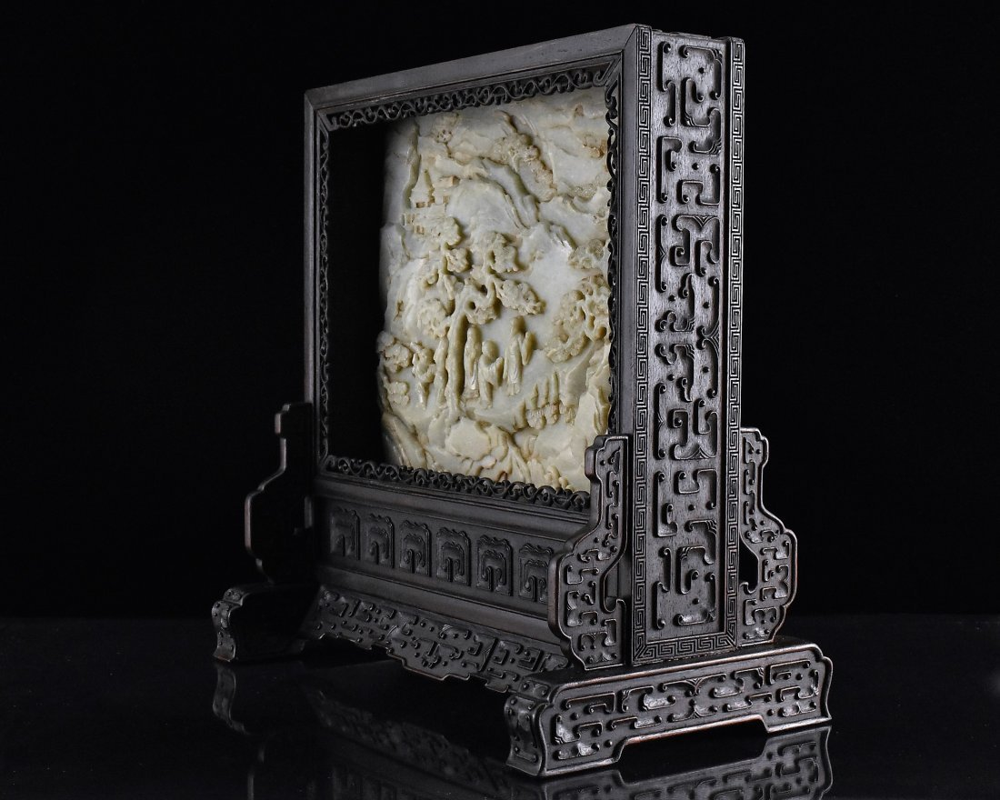 FRAMED GRAYISH CELADON JADE  TABLE SCREEN - 3