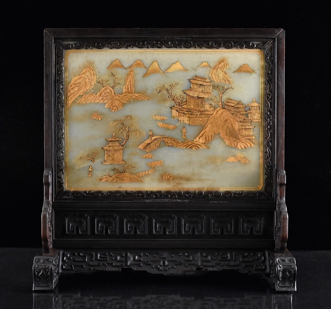 FRAMED GRAYISH CELADON JADE  TABLE SCREEN - 4