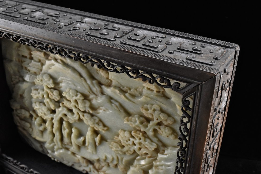 FRAMED GRAYISH CELADON JADE  TABLE SCREEN - 8