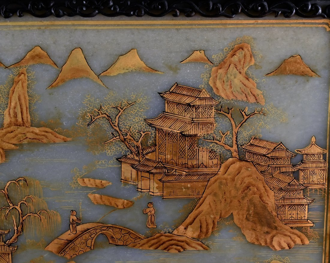 FRAMED GRAYISH CELADON JADE  TABLE SCREEN - 9