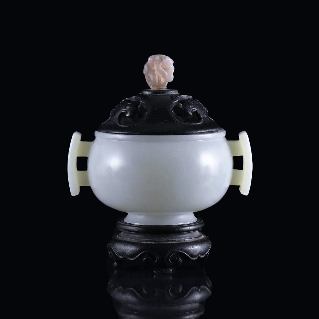 WOODEN COVERED CELADON JADE CENSER ON STAND