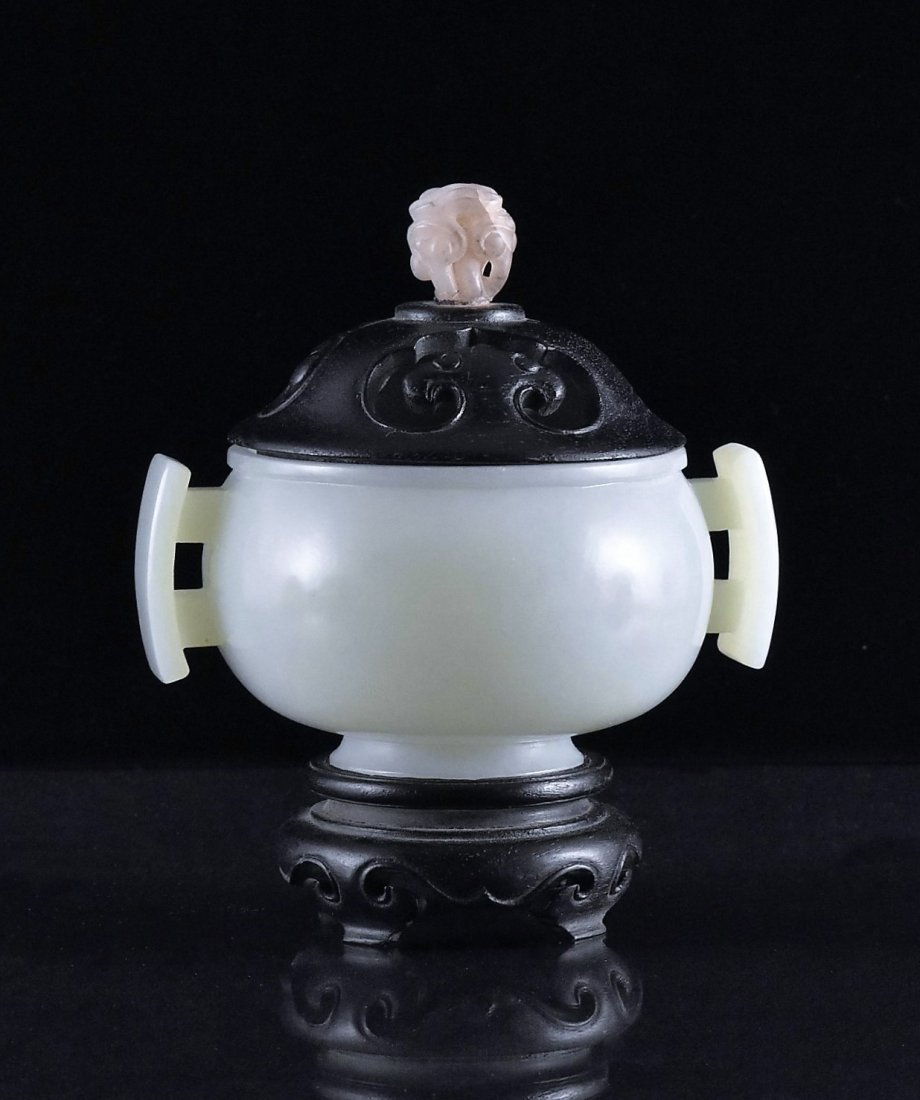 WOODEN COVERED CELADON JADE CENSER ON STAND - 3
