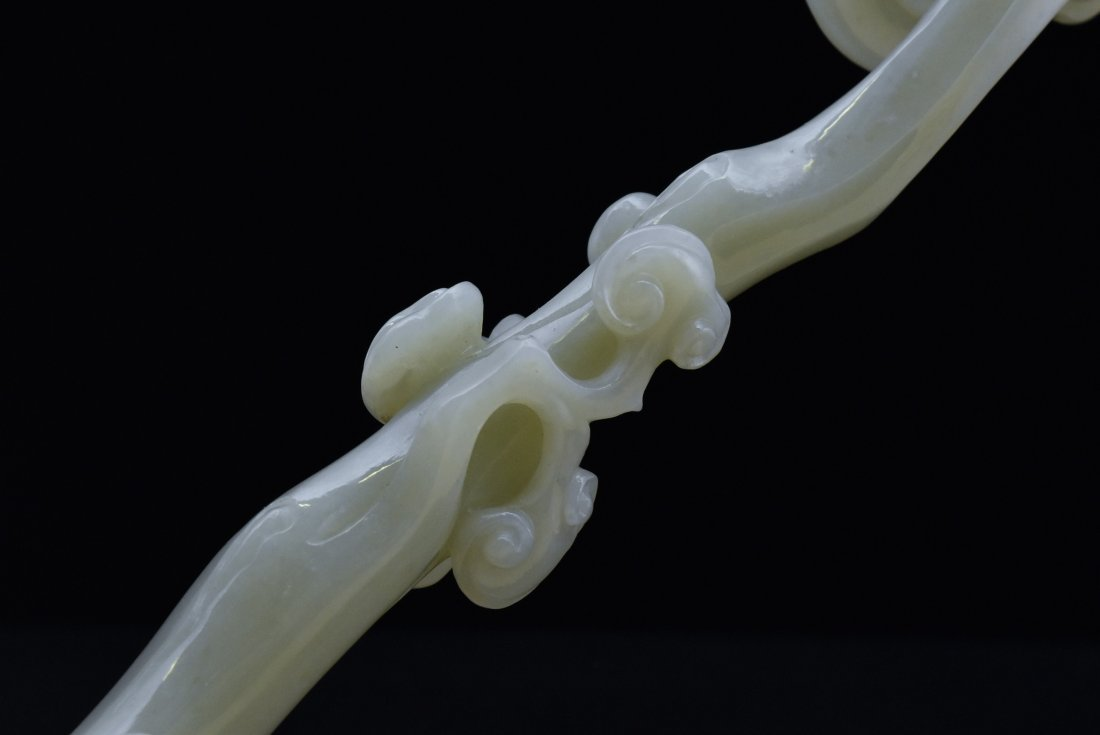 A FINELY CARVED CHINESE JADE LINGZHI RUYI SCEPTER - 9
