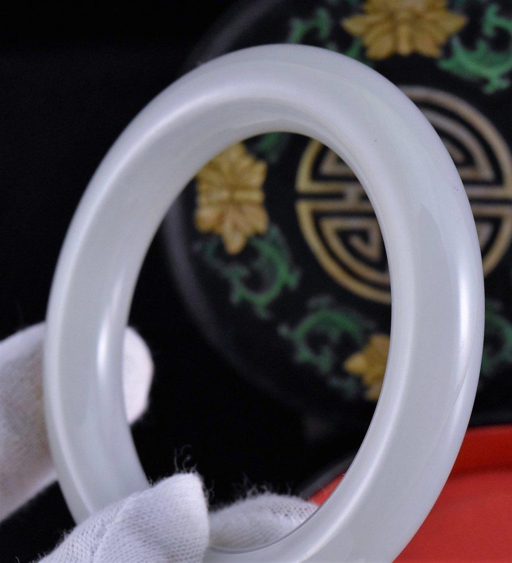WHITE JADE BANGLE IN WOODEN TRINKET BOX - 5