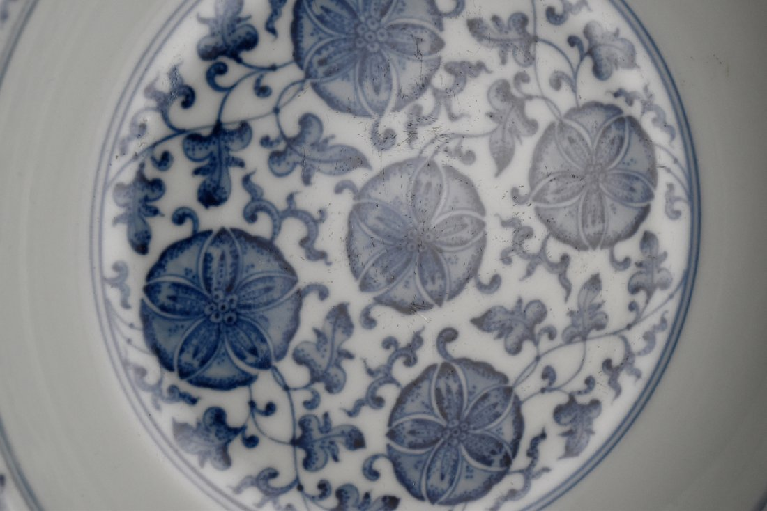 PAIR OF MORNING GLORY MOTIF SCALLOPED RIM DISHES - 10