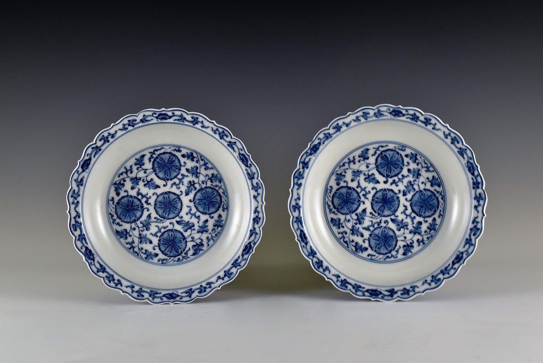PAIR OF MORNING GLORY MOTIF SCALLOPED RIM DISHES
