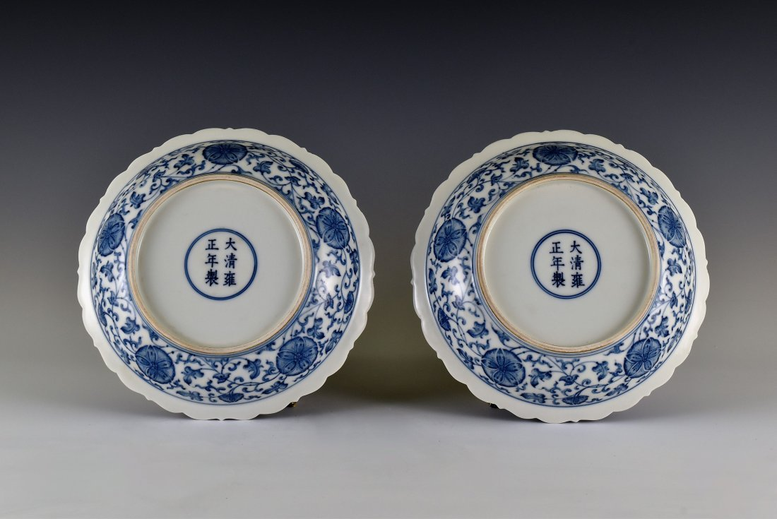 PAIR OF MORNING GLORY MOTIF SCALLOPED RIM DISHES - 2