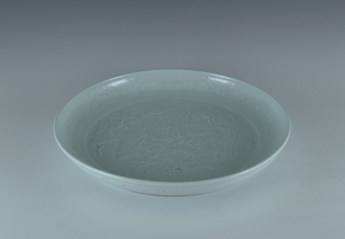 XUANDE DRAGON AND PHOENIX SGRAFFIATO PORCELAIN CHARGER - 3