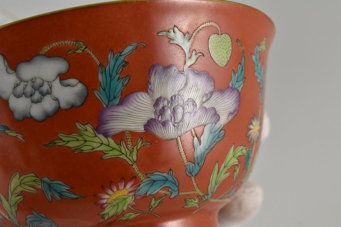 PAIR OF RED FAMILLE ROSE PEONIES BOWLS - 10