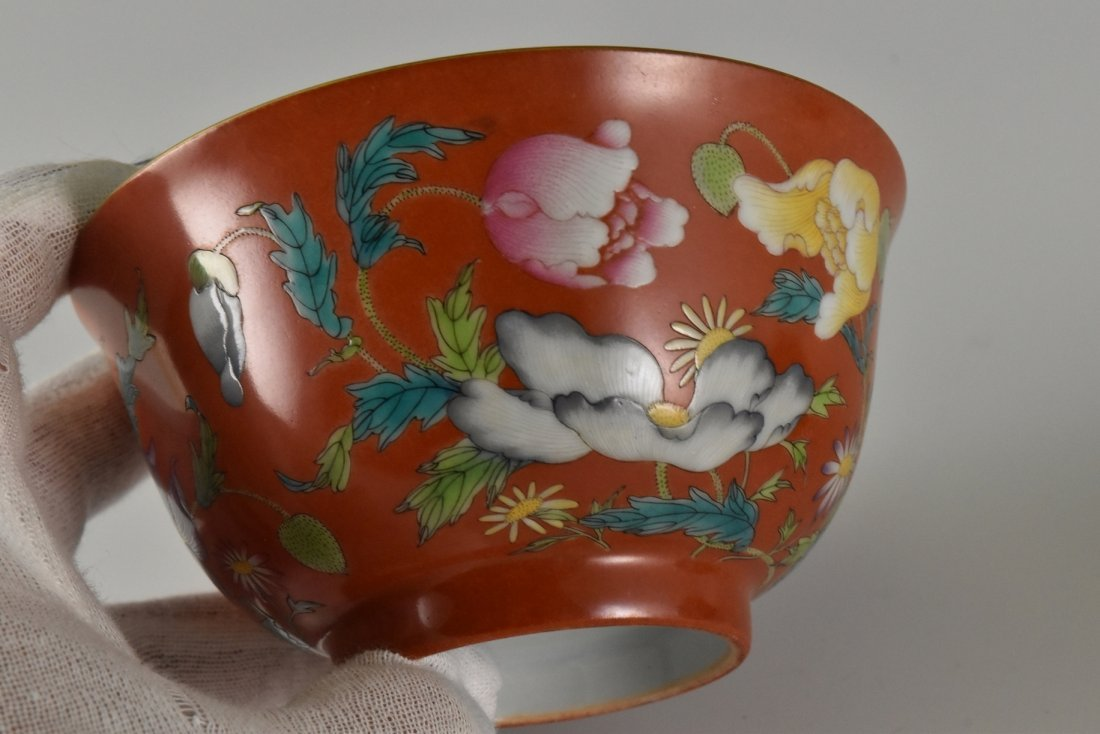 PAIR OF RED FAMILLE ROSE PEONIES BOWLS - 5
