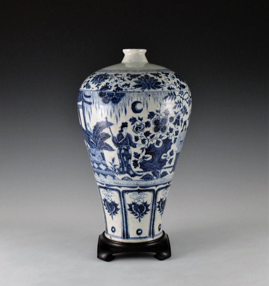 MING BLUE GLAZED MEIPING VASE WITH FIGURES MOTIF