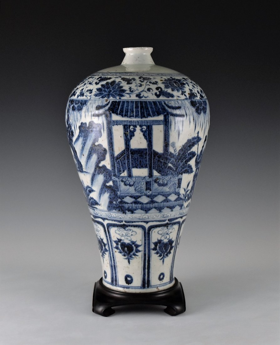 MING BLUE GLAZED MEIPING VASE WITH FIGURES MOTIF - 4