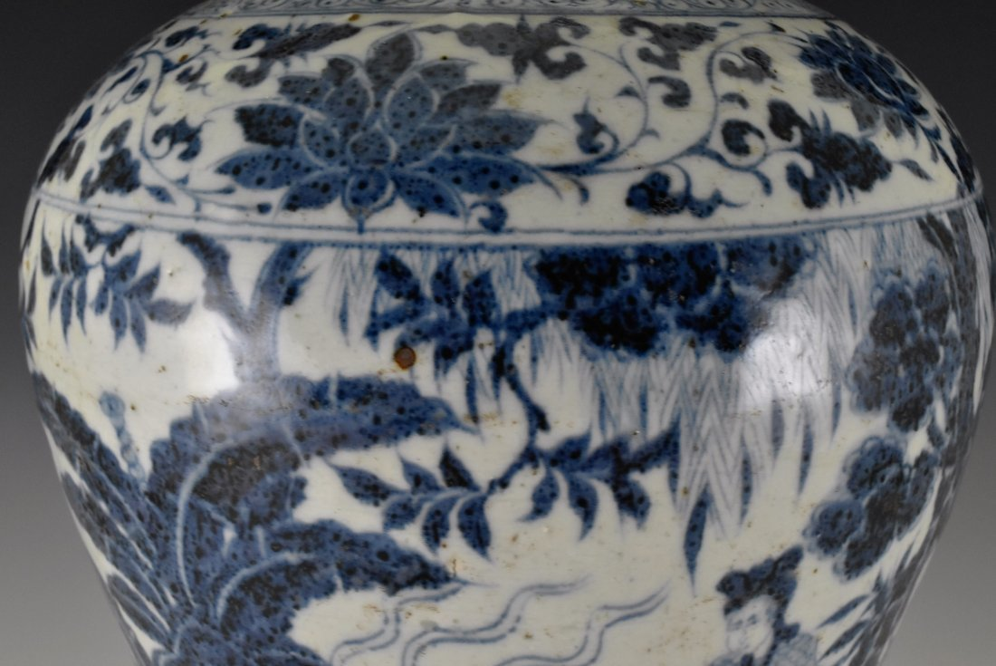 MING BLUE GLAZED MEIPING VASE WITH FIGURES MOTIF - 6