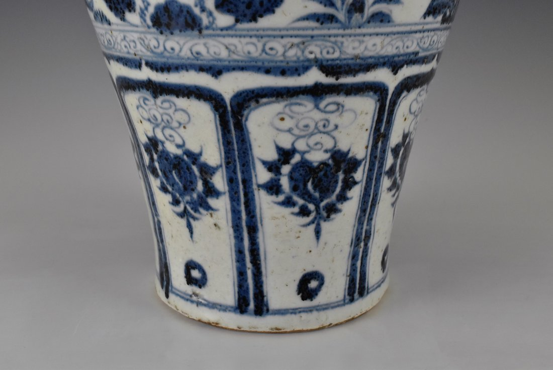MING BLUE GLAZED MEIPING VASE WITH FIGURES MOTIF - 7