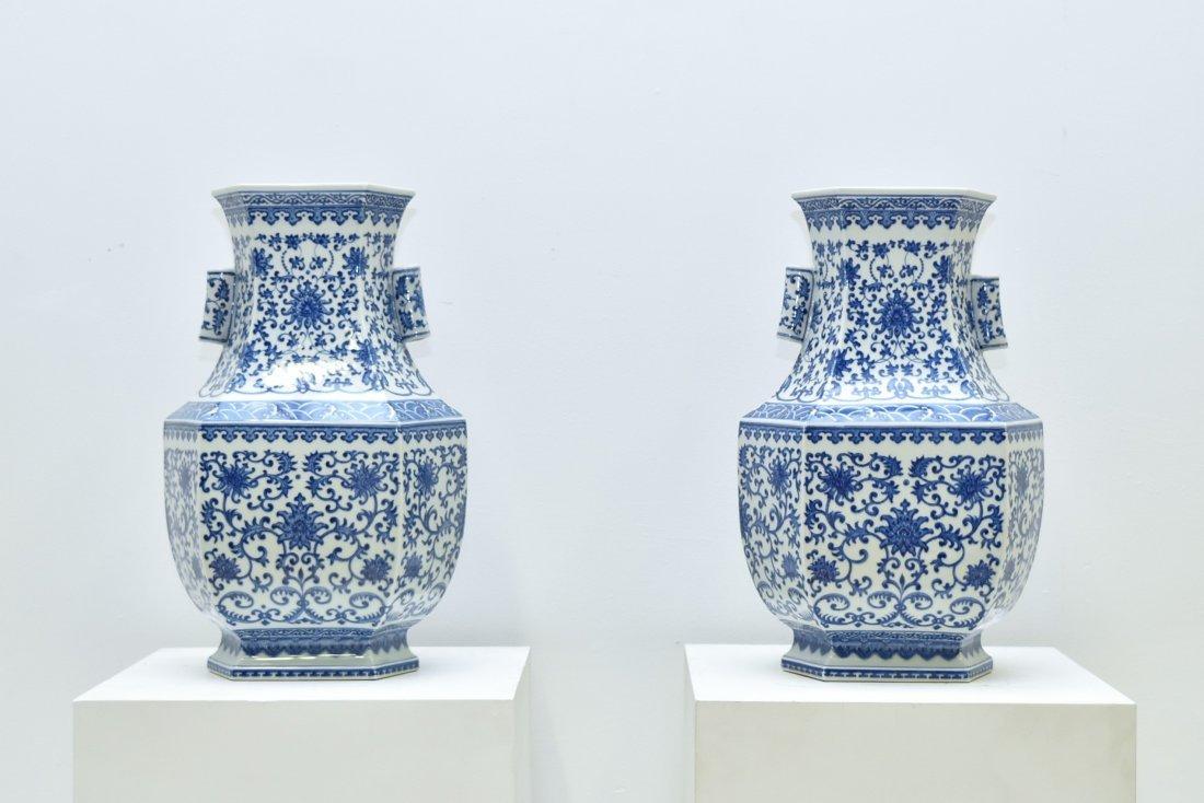 PAIR OF LARGE BLUE & WHITE HEXAGONAL BALUSTER VASES - 10