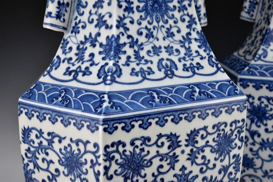 PAIR OF LARGE BLUE & WHITE HEXAGONAL BALUSTER VASES - 4
