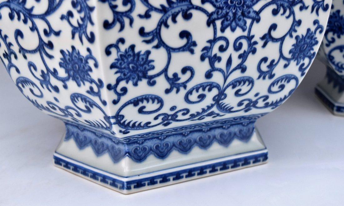 PAIR OF LARGE BLUE & WHITE HEXAGONAL BALUSTER VASES - 5
