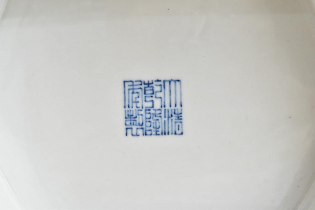 PAIR OF LARGE BLUE & WHITE HEXAGONAL BALUSTER VASES - 7