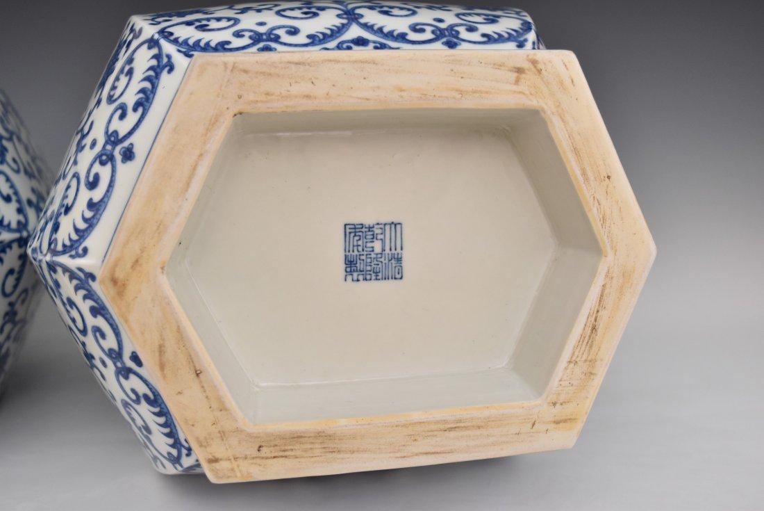 PAIR OF LARGE BLUE & WHITE HEXAGONAL BALUSTER VASES - 8