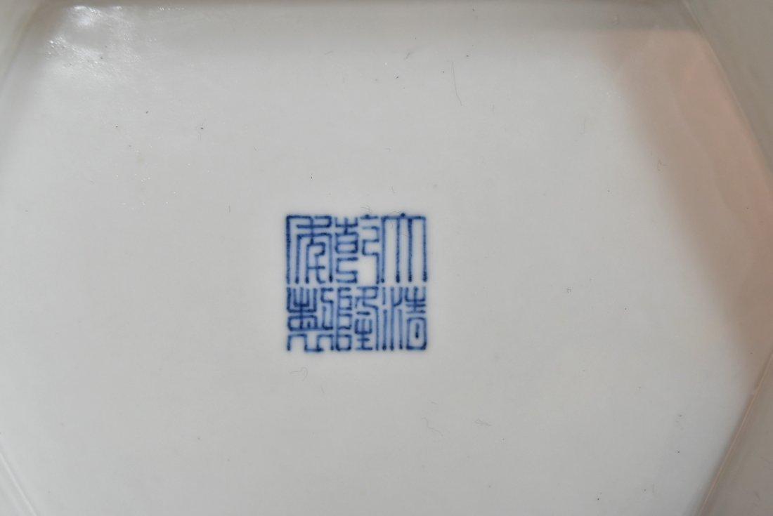 PAIR OF LARGE BLUE & WHITE HEXAGONAL BALUSTER VASES - 9