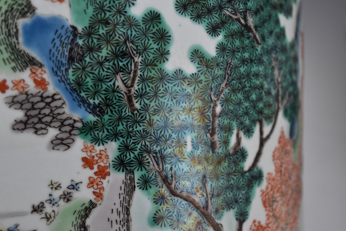 PAIR OF LARGE  WUCAI PLANT POTS - 9
