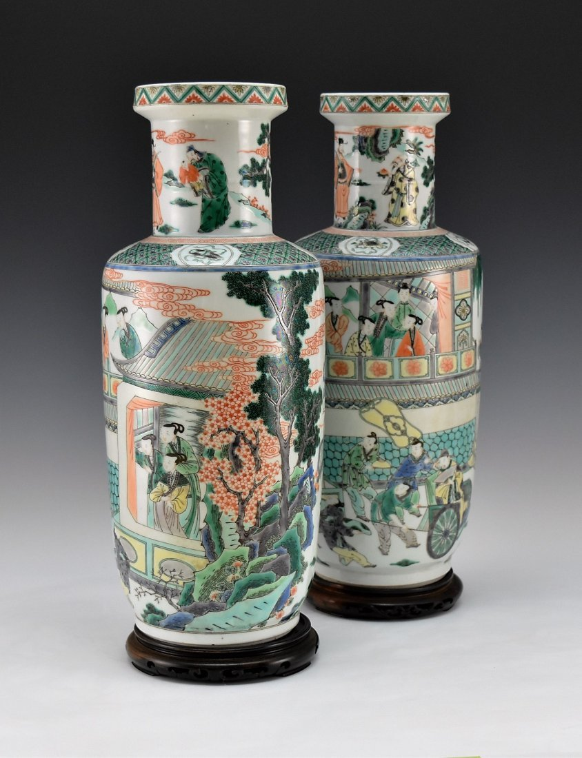 PAIR OF FAMILLE ROSE ROULEAU VASES - 2