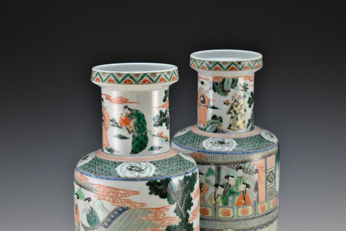 PAIR OF FAMILLE ROSE ROULEAU VASES - 3