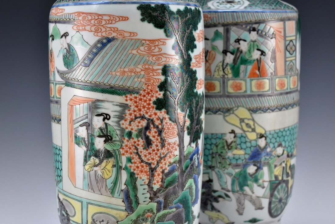 PAIR OF FAMILLE ROSE ROULEAU VASES - 4
