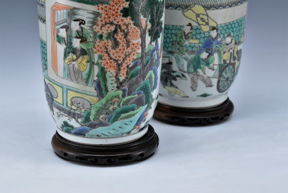 PAIR OF FAMILLE ROSE ROULEAU VASES - 5