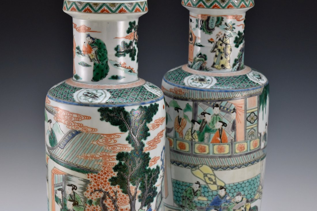 PAIR OF FAMILLE ROSE ROULEAU VASES - 6