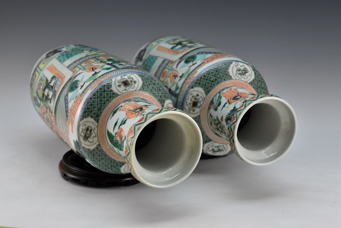 PAIR OF FAMILLE ROSE ROULEAU VASES - 7
