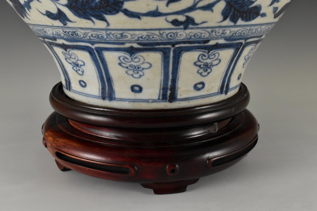 MING BLUE AND WHITE FLORAL MOTIF JAR ON STAND - 5