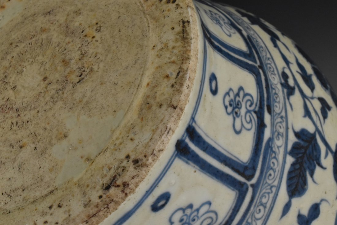 MING BLUE AND WHITE FLORAL MOTIF JAR ON STAND - 8